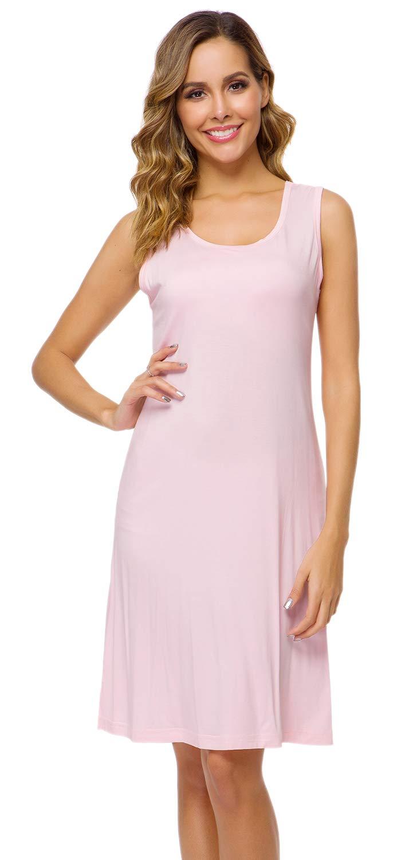 WiWi Women's Bamboo Pajamas Lightweight Nightgowns Sleeveless Dress Sleepwear Plus Size Nightshirt Loungewear S-4X