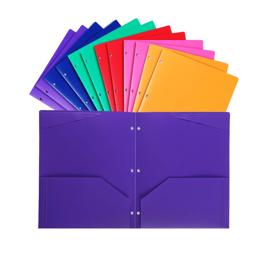 Plastic Pocket folders with 3 Hole,Heavy Duty Star folders,Assorted Colors,Pack of 12