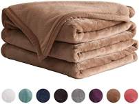 "LIANLAM Twin Size Fleece Blanket Lightweight Super Soft and All Season Warm Fuzzy Plush Cozy Luxury Bed Blankets Microfiber (Camel, 65""x90"")"