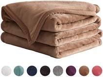 "LIANLAM Twin Size Fleece Blanket Lightweight Super Soft and All Season Warm Fuzzy Plush Cozy Luxury Bed Blankets Microfiber (Camel, 65""x90"")"
