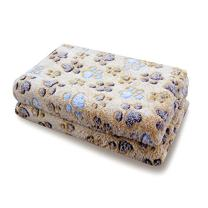 Pet Soft Dog Blankets Medium - Puppy Blankets for Dogs Cats Cute Little Pet Throw Blankets Fleece Washable (M, Paw-Brown)
