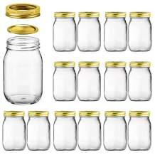 Glass Jars With Airtight Lids,Encheng 16 oz Canning Jars With Lids And Bands,Wide Mouth Mason Jars With Lids For Kitchen Canisters,Glass Storage Containers 15 Pack …