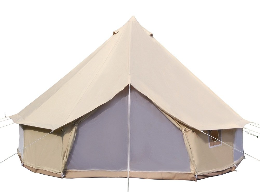Dream House Luxury Outdoor Waterproof Four Season Family Camping and Winter Glamping Cotton Canvas Yurt Bell Tent with Mosquito Screen Door and Windows