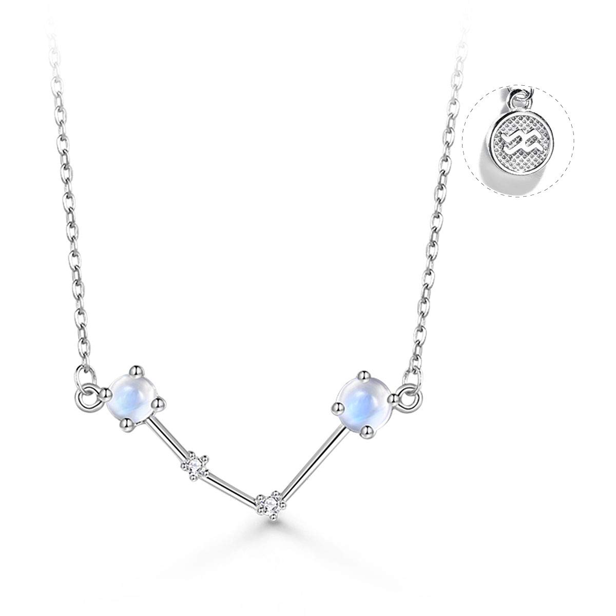 T400 925 Sterling Silver Horoscope Pendant Necklace   Zodiac Sign 12 Constellation Moonstone Birthday Gift for Women Girls