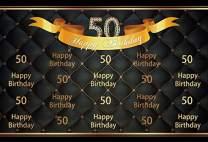 Baocicco 10x6.5ft Happy Birthday Background Photography Backdrop 50th Happy 50th Birthday Backdrop Gold Diamonds Number 50 Black Photography Background Adults Birthday Party Portrait Studio Video Prop