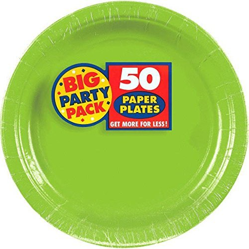 """amscan Big Party Pack Round Paper Plates 9"""" Kiwi 100 Count"""