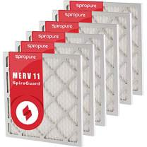 SpiroPure 17x26x1 MERV 11 Pleated Filter Air Filters - Made in USA (6 Pack)