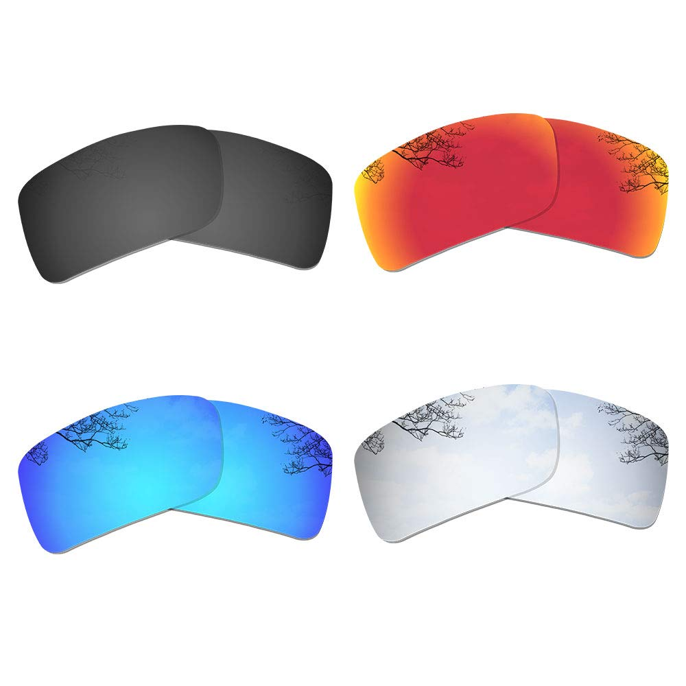 Dynamix 4 Pairs Polarized Replacement Lenses for Oakley Gascan - Solid Black/Fire Red/Ice Blue/Titanium