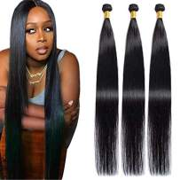 Maxine Brazilian Long Silky Straight Virgin Human Hair 3 Bundles 38 38 38 Inch 100% Unprocessed Hair Weave Bundles Extensions Deals 10a Natural Color