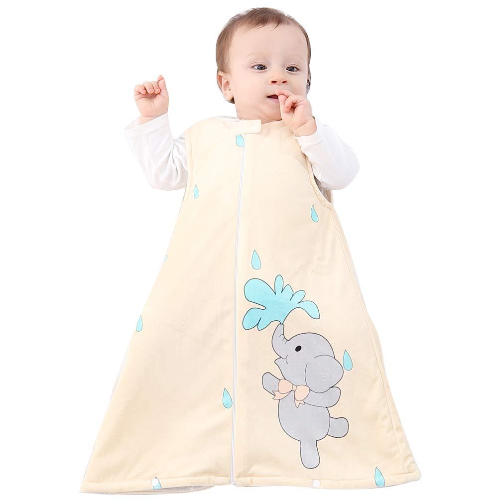 IDGIRL Toddler Sleep Bag,Fleece Wearable Blanket Sleeveless 2-3 Years Soft Warm,Yellow Elephant