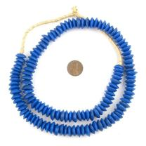 TheBeadChest Ashanti Fair Trade Glass Saucer Beads - African Tribal Ethnic Disk Rondelle Spacers (Cobalt Blue)