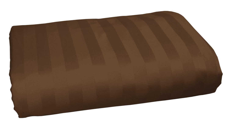 American Pillowcase 100% Long Staple Cotton Luxury Striped 540 Thread Count Flat Sheet - King/California King, Chocolate