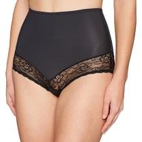 Amazon Brand - Arabella Women's Microfiber and Lace Smoothing Shapewear Brief