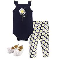 Hudson Baby Unisex Cotton Bodysuit, Pant and Shoe Set, Daisy, 6-9 Months