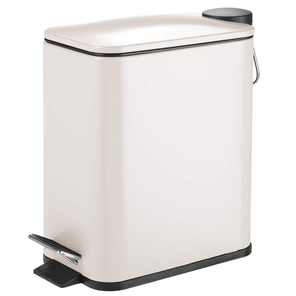 mDesign 5 Liter Rectangular Small Steel Step Trash Can Wastebasket, Garbage Container Bin for Bathroom, Powder Room, Bedroom, Kitchen, Craft Room, Office - Removable Liner Bucket - Cream/Beige
