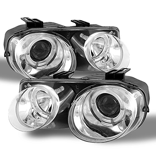 For 98-01 Acura Integra Dual LED Halo Ring Chrome Clear Projector Headlights Lamp Pair
