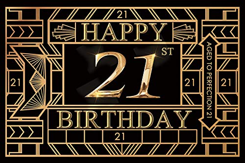 Baocicco 6x4ft Polyester Gatsby Photography Background for Happy 21st Birthday Backdrop Aged to Perfection 21 Golden 21st Birthday Party Shiny 21 Themed Party PhotoCall Booth Props