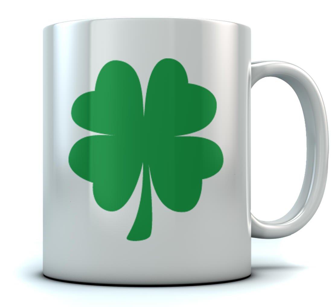 St. Patrick's Day Green Clover Coffee Mug Lucky Shamrock Sturdy Ceramic Mug 11 Oz. White