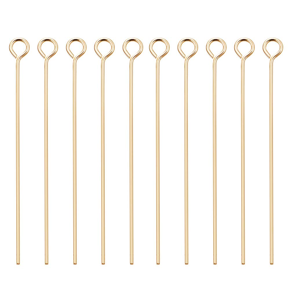 """BENECREAT 100PCS 18K Real Gold Plated Eye Pins 21 Gauge Open Eye pins for DIY Jewelry Making Findings - 45mm (1.8"""") Long"""