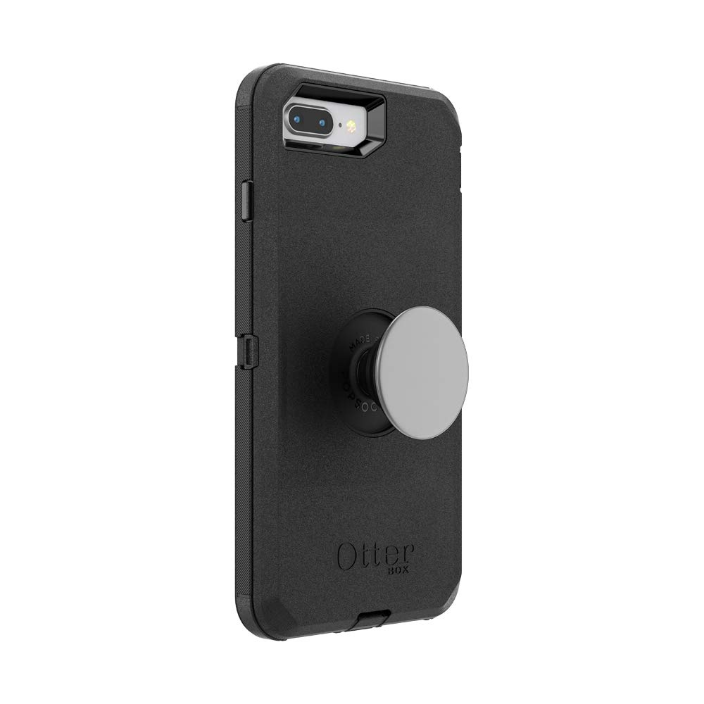Otter + Pop for iPhone 7+ and 8+: OtterBox Defender Series Case with PopSockets Swappable PopTop - Black and Aluminum Space Grey