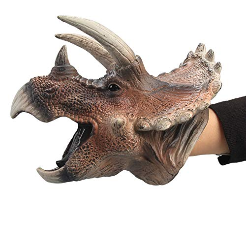 Gemini&Genius Triceratops Dinosaur Hand Puppets Large Soft Rubber Realistic Funny & Scared Dino Head Hand Puppets Home, Stage and Class Role Play Toy for Kids and Toddlers