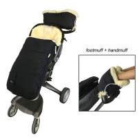 100% Premium Australia Sheepskin Stroller Footmuff Come with Lambskin Handmuff, Waterproof Weather Resistant Lambskin Baby Bunting Bag and Hand Warmer Keep Baby and Parent Warm,Cream