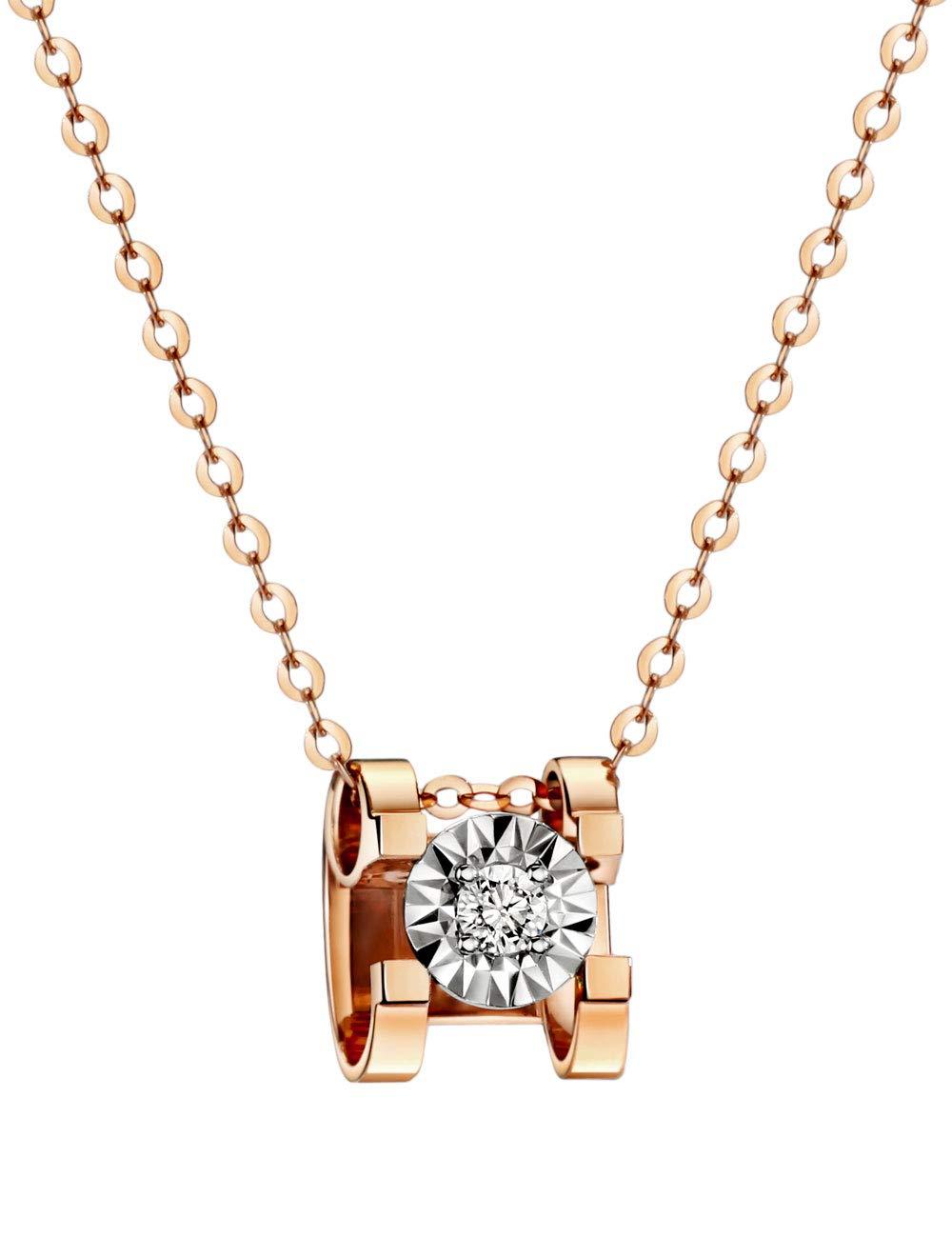 """michooyel 18K Rose Gold Diamond(0.03 ct, Color D, VVS) Pendant Necklace for Women 18"""""""