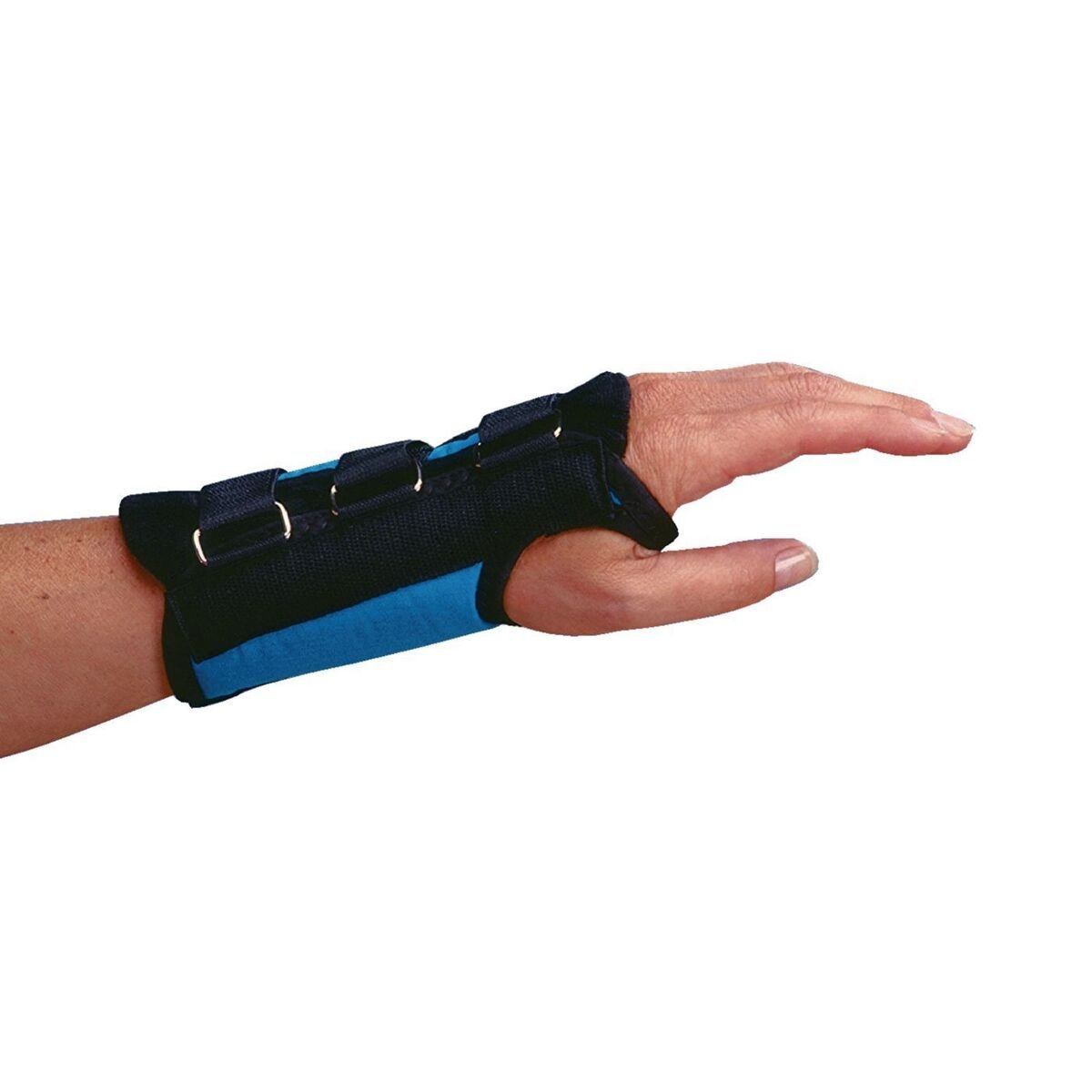 """Rolyan D-Ring Right Wrist Brace, Size Large Fits Wrists 7.75""""-8.5"""", 7.5"""" Regular Length Support, Teal Brace with Straps and D-Ring Connectors to Secure and Stabilize Hands and Wrists"""