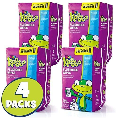 Flushable Wipes for Babies and Kids, Sensitive by Kandoo, Hypoallergenic Potty Training Wet Cleansing Cloths Refills, Unscented, 250 Count per Pack, Pack of 4