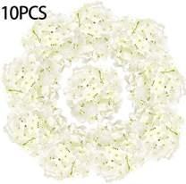 LKBOX White Artificial Hydrangea Silk Flowers Face 10pcs Bush Cream Flowers Head Bulk with Arrangements Wedding Centerpieces Bouquets DIY Floral Decor Home Decoration with Long Stems