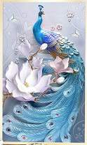 TOCARE Large Diamond Painting Kits for Adults 40x60cm Lucky Bird Full Drill Paint with Diamonds Dotz Home Wall Art Decor Presents for Your Family,Blue Peacock
