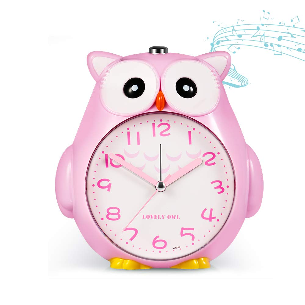 KOROTUS COLLECTION Owl Alarm Clock for Kids with Night Light and Snooze for Girls Battery Operated