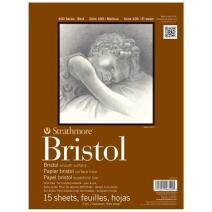 """Strathmore 400 Series Bristol, 2-Ply Smooth, 9""""X12"""" Tape Bound, 15 Sheets"""