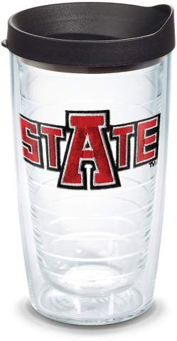 Tervis 1135935 Arkansas State Red Wolves Tumbler with Emblem and Black Lid 16oz, Clear