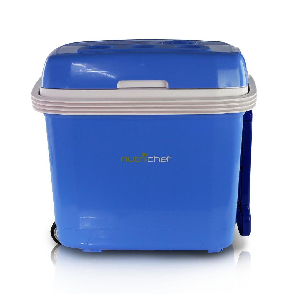 NutriChef Portable Electric Cooler Fridge / Food Warmer, 35 Can - 32L Capacity   Personal Thermoelectric Dual Cooling Warming Digital Plug In Refrigerator for Car, Travel, Beach, Office