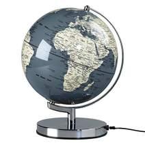 "Illuminated Geographic World 10"" Desk Globe with Stand, LED Lighting, and USB Plug"
