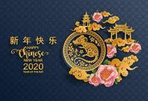 Baocicco 10x8ft Happy Chinese New Year Backdrop Year of The Mouse Chinese Characters Chinese Architecture New Year's Greeting Photography Background Welcome to 2020 Year Eve Party Photoshoot Prop