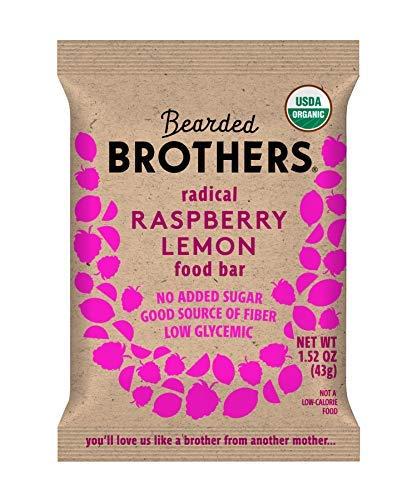 Bearded Brothers Vegan Organic Energy Bar | Gluten Free, Paleo and Whole 30 | Soy Free, Non GMO, Low Glycemic, Packed with Protein, Fiber + Whole Foods | Raspberry Lemon | 5 Pack