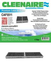 Cleenaire CAF5511 The Most Advanced Protection Against Dust, Smog, Gases, Odors and Allergens, Cabin Air Filter For 11-18 Jeep Wrangler