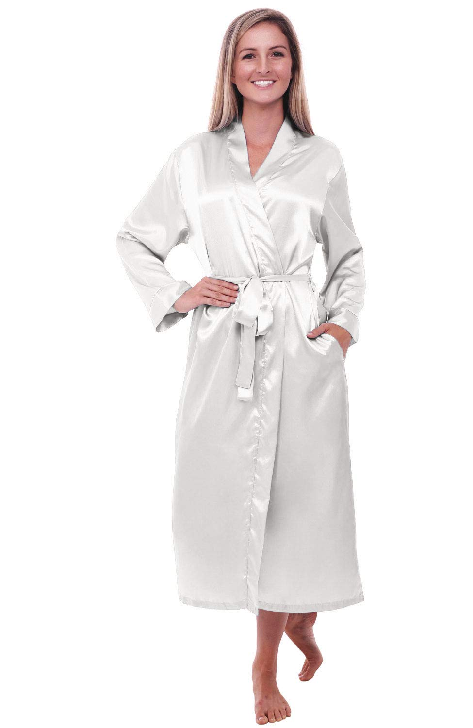 Alexander Del Rossa Women's Lightweight Satin Robe, Long Kimono