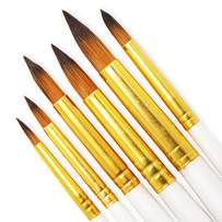 SEEFOUN 6 pcs Handmade Round Pointed Tip Brushes Professional Oil Paint Brush Set, Anti-Shedding Nylon Hair for Acrylic, Oil, Watercolor and Gouache, Nice Gift for Artists, Adults & Kids