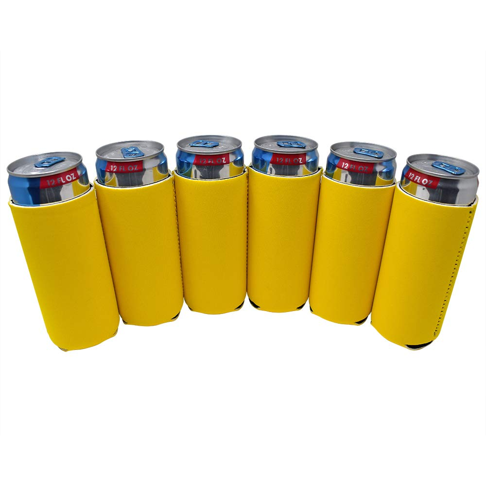 TahoeBay 12 Slim Can Sleeves - Blank Neoprene Beer Coolers – Compatible with 12oz RedBull, Michelob Ultra, White Claw Spiked Seltzer (Yellow, 12)