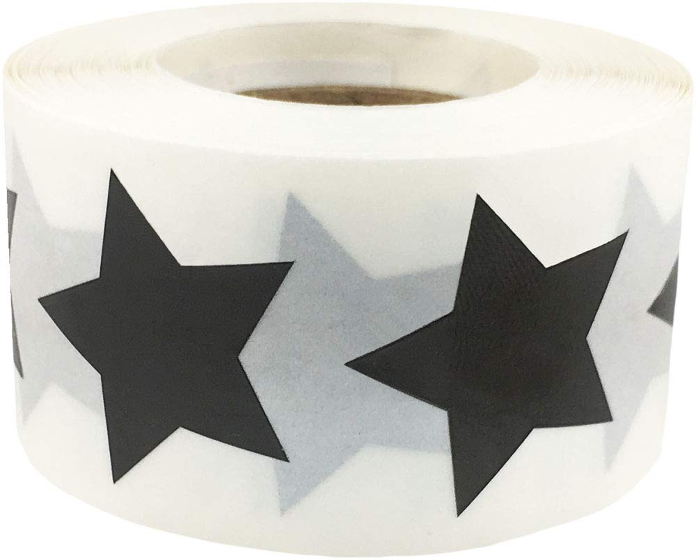 Black Star Shape Stickers 1 Inch 500 Adhesive Labels