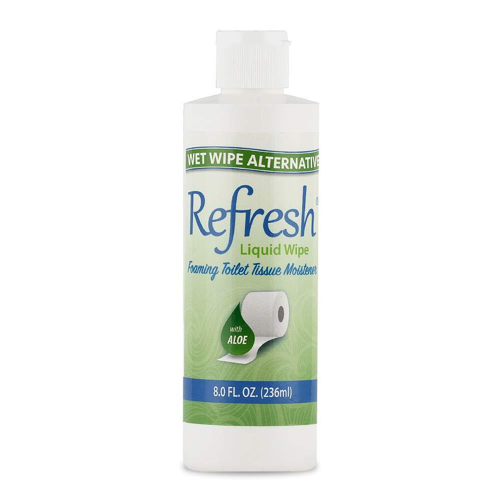 REFRESH Liquid Wipe - Wet Wipe Alternative - Toilet Tissue Moistener Foam 8oz. Refill (1 Pack). Works on Any Toilet Tissue for a Custom Wipe!