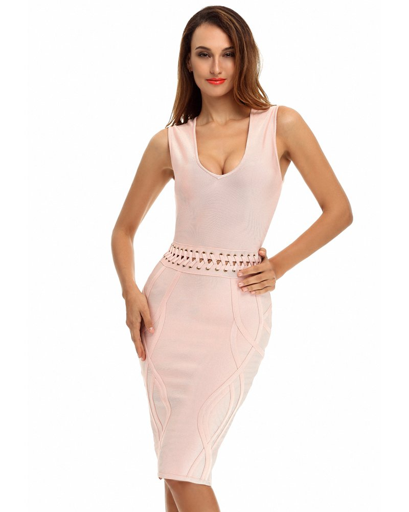 whoinshop Women's Deep V Neck Criss Cross Back Celebrity Bodycon Bandage Dress