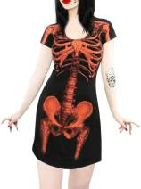 Spadehill Halloween Women's Skeleton Bone Short Sleeve Fancy Dress