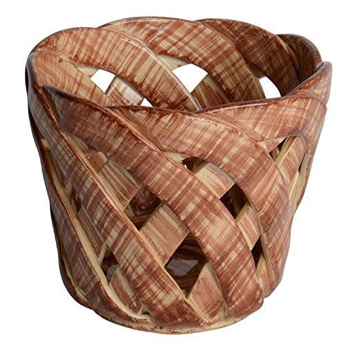 "Handmade Italian Chocolate Ceramic Cachepot (7"" x 6"") | Intrecci Collection by Modigliani – Medium, Hand-Painted Ceramic Woven Home Décor Cachepot | Perfect Italian Bon Bon Cachepot Planter"