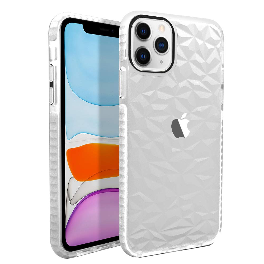 CUSTYPE Case for iPhone 11 Pro Max, iPhone 11 Pro Max Case with Geometric Design Ultra Clear Slim Soft TPU Shock-Absorption Anti-Scratch Protective Cover for iPhone 11 Pro Max (2019) 6.5 inch White