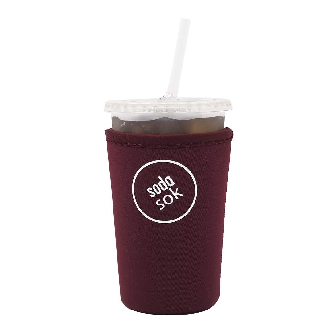 Soda Sok Reusable Insulated Neoprene Drink Sleeve for Iced Fountain Drinks and Soda Cups (Eggplant, 22-24oz Med)