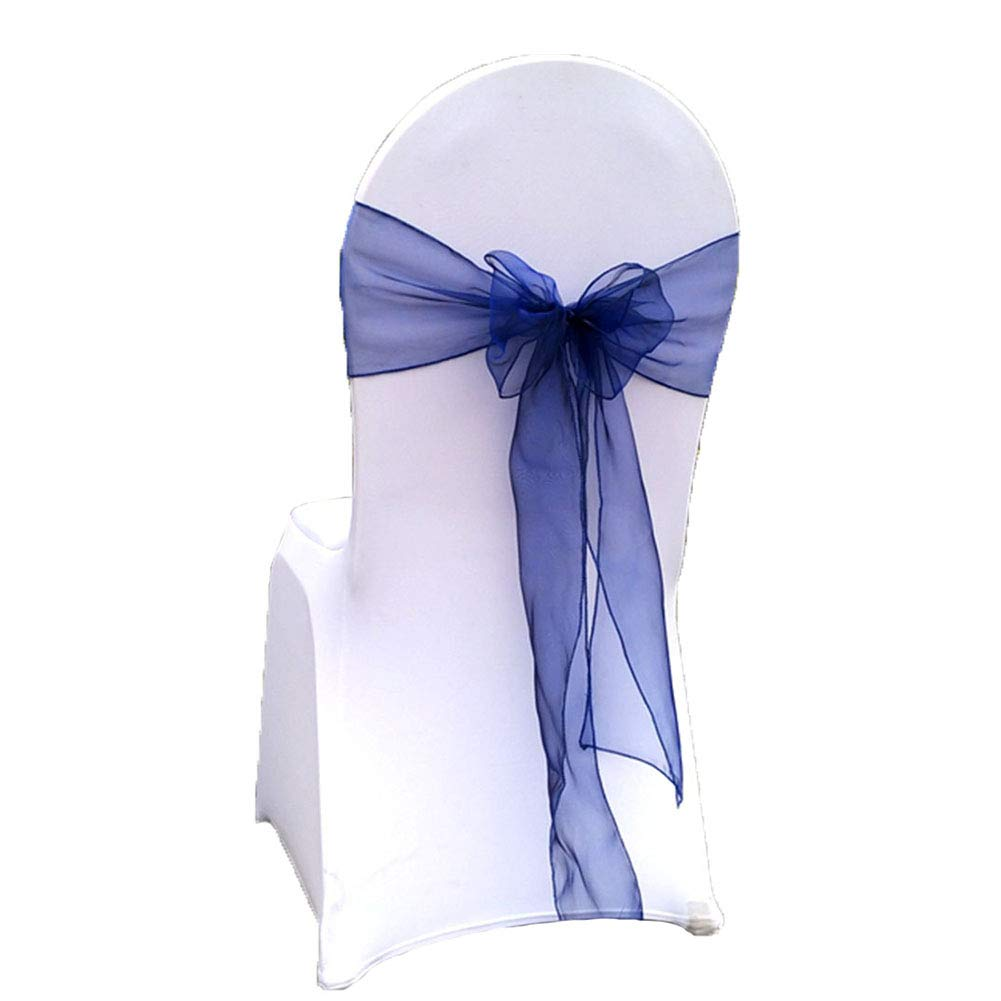 """Special Bridal Spandex Chair Bands Chair Bow Ties for Party 25 Pieces 7""""x108"""" Organza Chair Covers Bow Sashes for Wedding and Events Supplies Party Decoration Navy NO.75"""